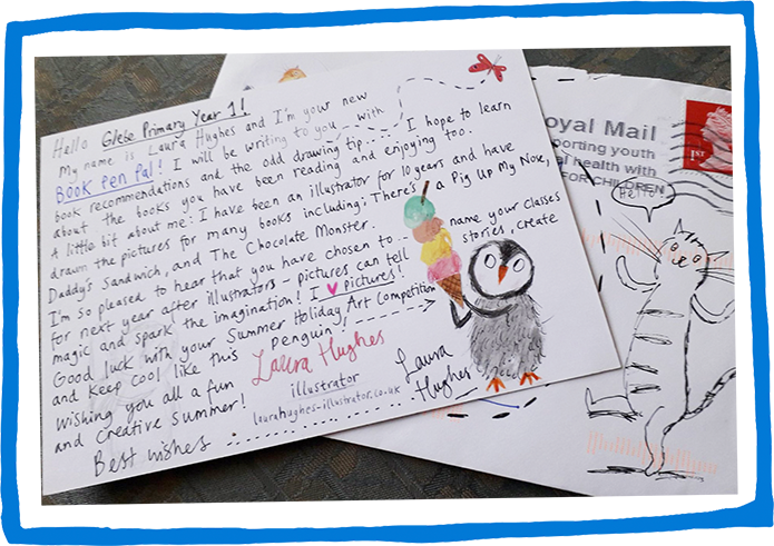 photo of Laura Hughes's postcard with a drawing of penguin holding an ice cream cone and a cat on the envelope