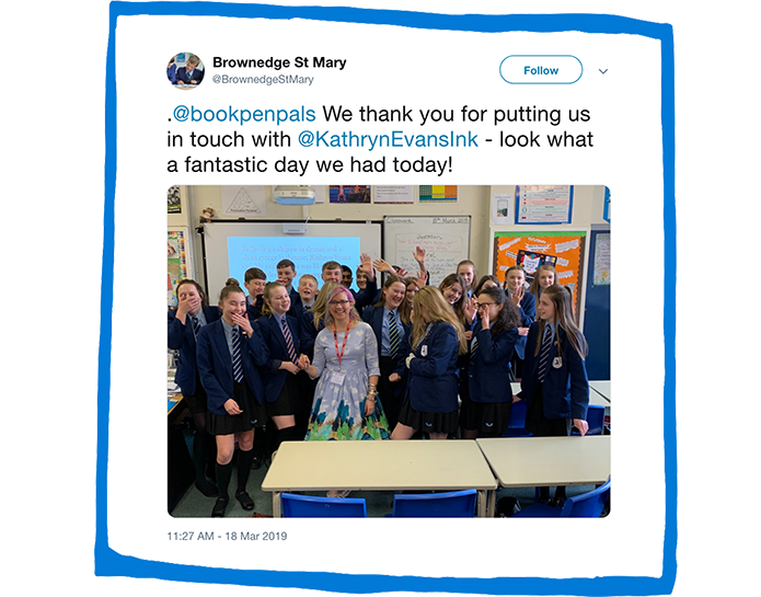 Kathryn Evans on a school visit inspired by BookPenPals